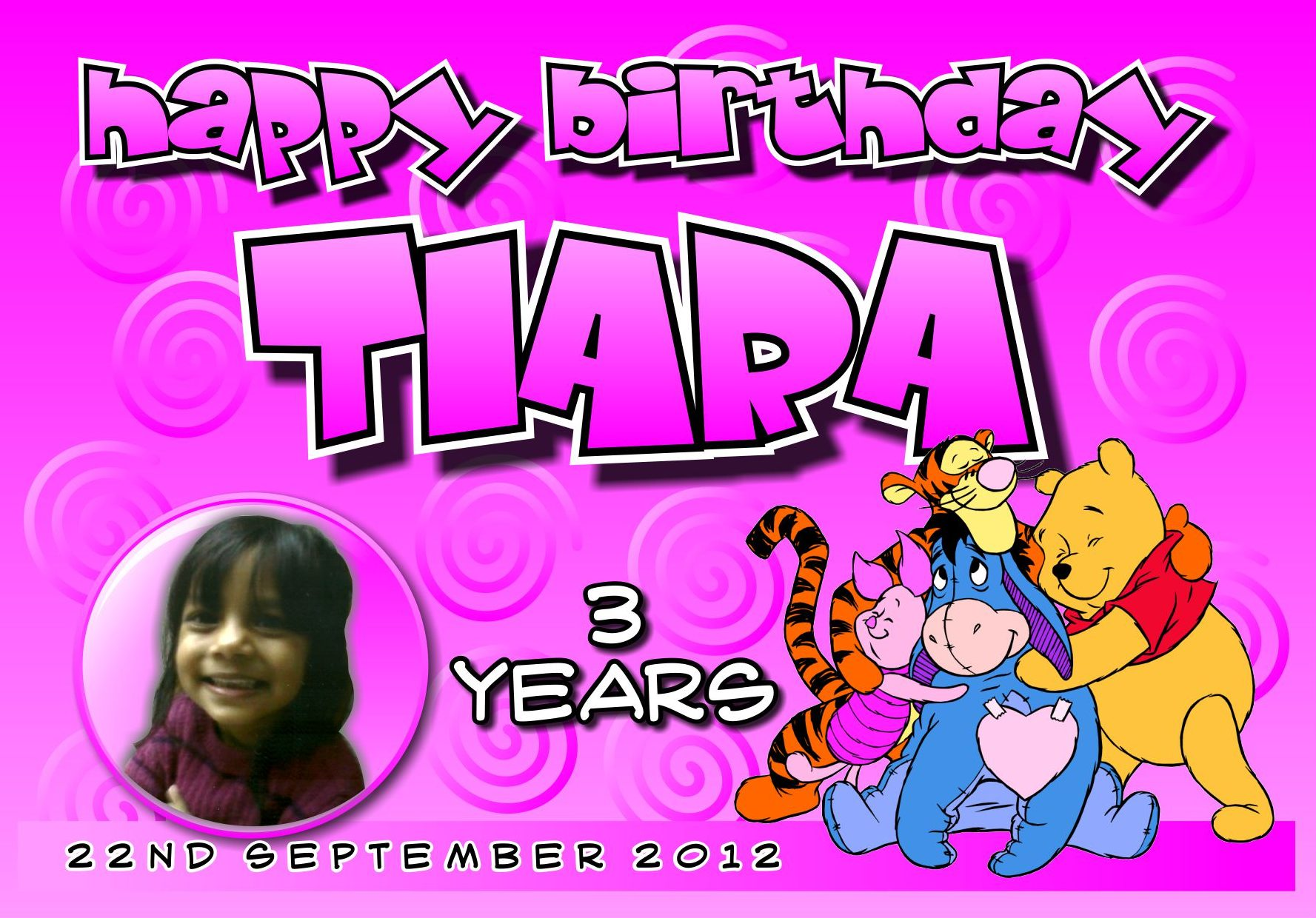 happy, birthdays, tiara, winnie, pooh, tigger, piglet, eyore, kids, childrens, banners, parties, party, fun, colourful, colorful, pink, spiral, patterns, cute,
