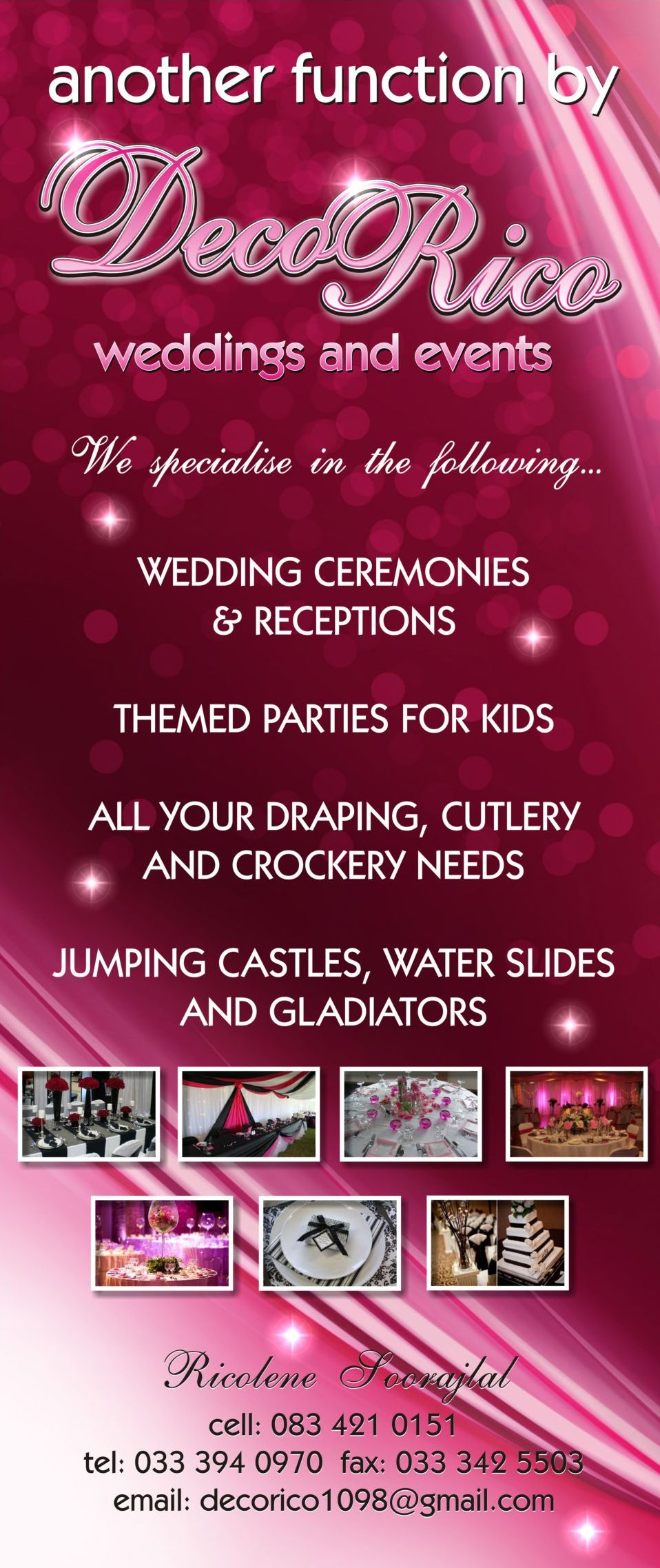 deco, rico, events, weddings, ceremonies, ceremony, receptions, themed, parties, party, kids, draping, cutlery, crockery, jumping, castles, water, slides, gladiators, banner, design, advertising, purple, functions, violet