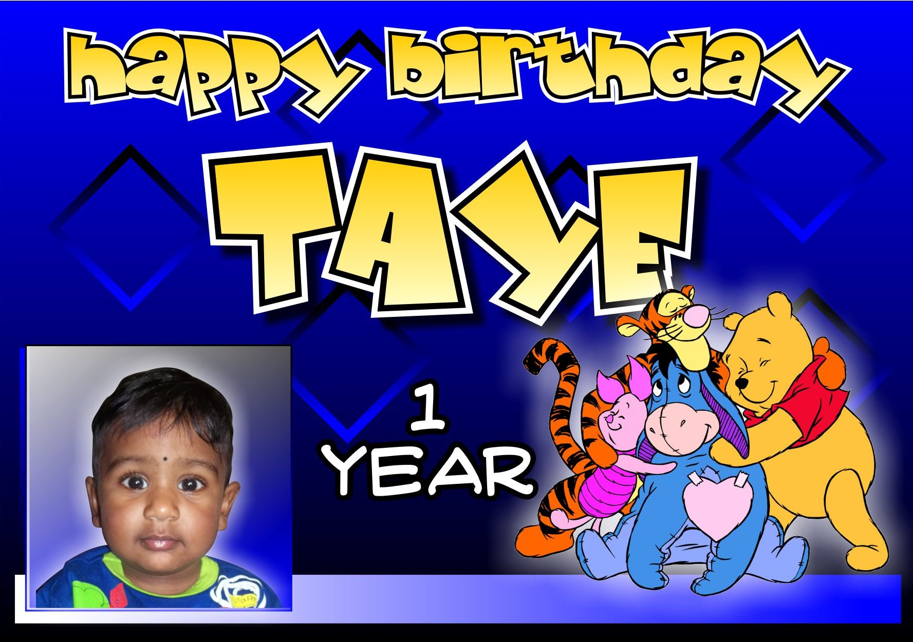 blue, kids, banners, cartoons, designs, birthdays, colourful, colorful, children, cute, winnie, pooh, tigger, eyore, piglet, taye