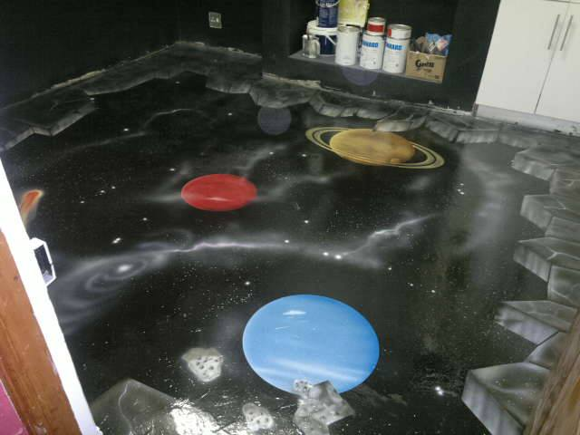 murals, paintings, floors, planets, space, colorful, colourful