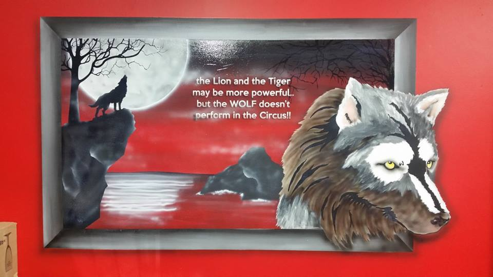 wolf, wolvers, red, walls, murals, paintings, moons, mountains