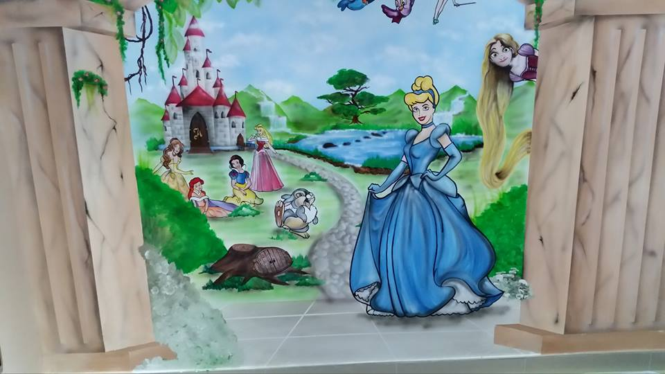 tinkerbelle, cinderella, jazmine, aladdin, snow white, sleeping beauty, tangled, rapunzel, princesses, disney, kids, walls, murals, paintings, castles, bunny, bunnies, rabbits, kids, childrens, professional