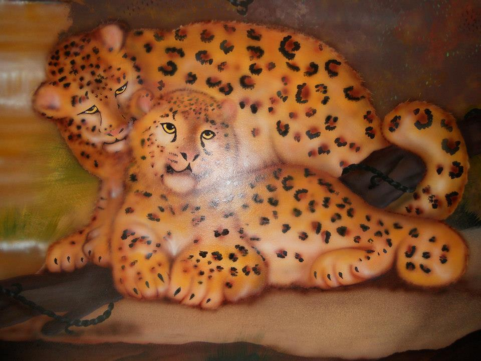 leopards, walls, murals, paintings,