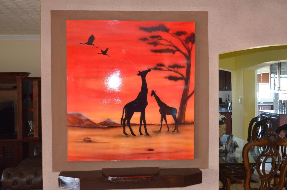 african, walls, murals, paintings, safaris, 3d, dimensional, art, giraffes,