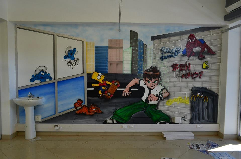 Ben, 10, spider, man, spiderman, spider-man, smurfs, bart, simpsons, garfield, et, graffiti, walls, murals, kids, childrens, art, paintings, play, rooms